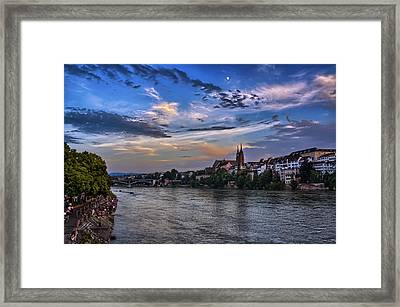 Basel Bathed In Moonlight Framed Print by Carol Japp