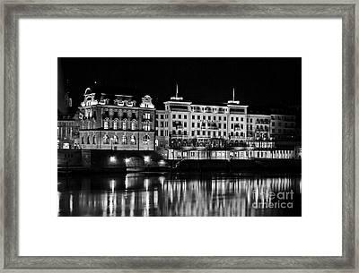 Basel By Night - Grand Hotel Les Trois Rois Framed Print by Carlos Alkmin