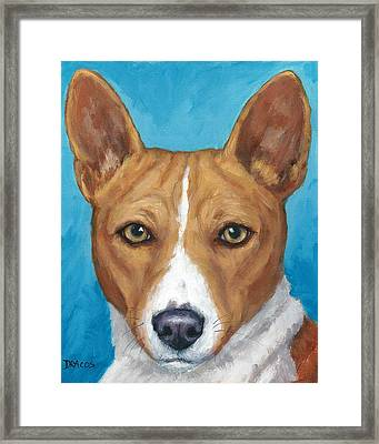 Basenji Portrait On Blue Framed Print by Dottie Dracos