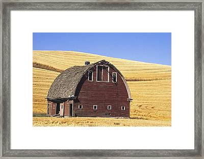 Basic Palouse Barn Framed Print by Latah Trail Foundation