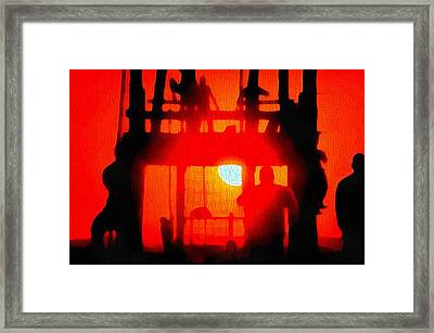 Basic Training Obstacle Course At Sunset Framed Print by Dan Sproul