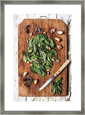 Basil, Pistachios And Garlic Framed Print