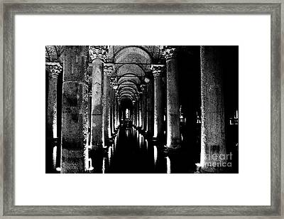 Basilica Cistern In Black And White Framed Print by Emily Kay
