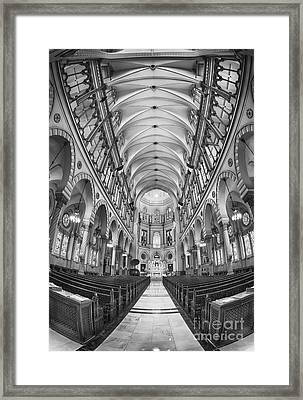 Basilica Of Saint Louis Black And White Framed Print by Jerry Fornarotto
