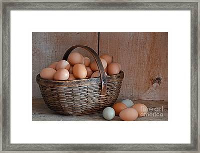 Basket Full Of Eggs Framed Print