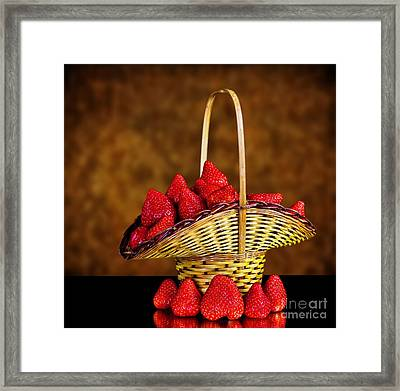 Basket Full Of Strawberries Framed Print by Shirley Mangini