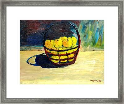 Basket Of Aplles Framed Print by Mauro Beniamino Muggianu