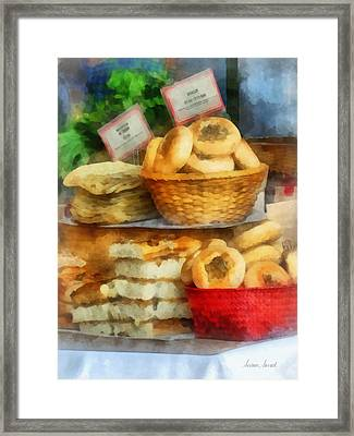 Basket Of Bialys Framed Print by Susan Savad