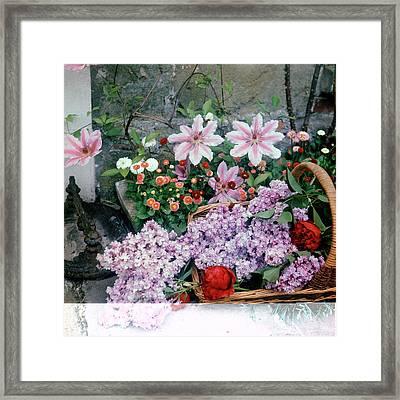 Basket Of Flowers At Reddish House Framed Print