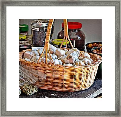 Basket Of Garlic Framed Print