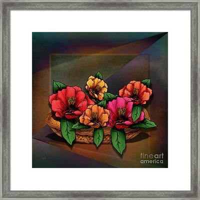 Basket Of Hibiscus Flowers Framed Print by Bedros Awak