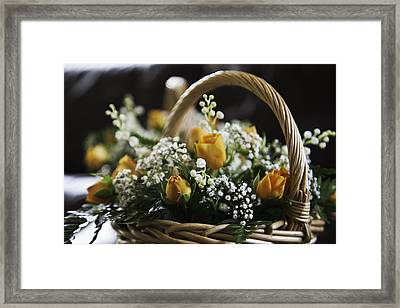 Basket Of Roses Framed Print by Lesley Rigg