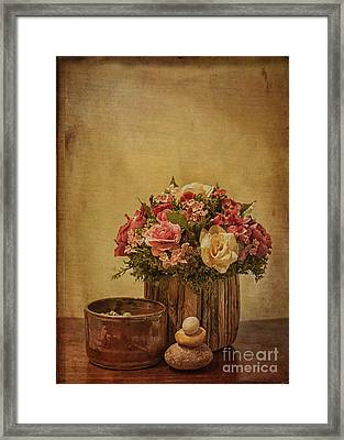 Basket Of Spring Roses Framed Print