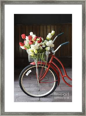 Basket Of Tulips Framed Print by Birgit Tyrrell