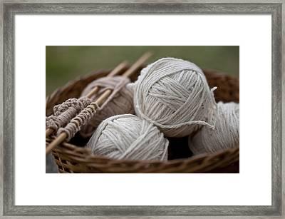 Basket Of Yarn Framed Print by Wilma  Birdwell