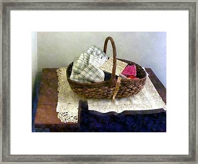 Basket With Cloth And Measuring Tape Framed Print