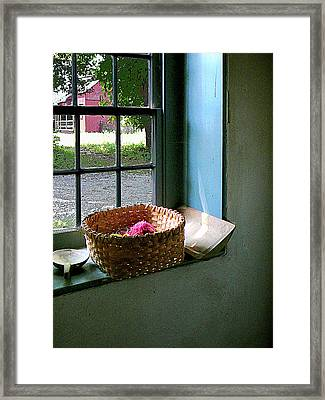 Basket With Yarn Framed Print by Susan Savad