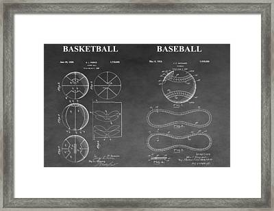 Basketball And Baseball Patent Drawing Framed Print
