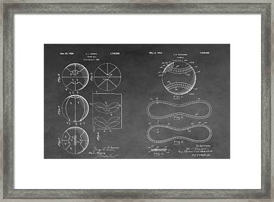 Basketball Baseball Invention Drawing Framed Print