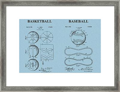 Basketball Baseball Patent Blue Framed Print