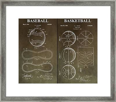 Basketball Baseball Patent Framed Print