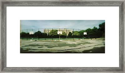 Basketball Court In A Public Park Framed Print