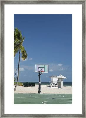 Basketball Goal On The Beach Framed Print