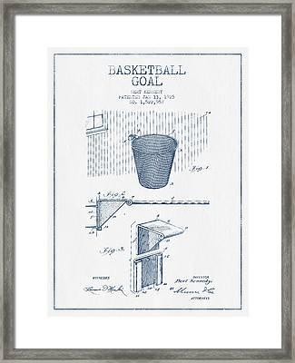 Basketball Goal Patent From 1925 - Blue Ink Framed Print by Aged Pixel