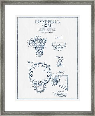 Basketball Goal Patent From 1936 - Blue Ink Framed Print by Aged Pixel