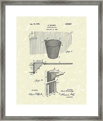 Basketball Hoop 1925 Patent Art Framed Print