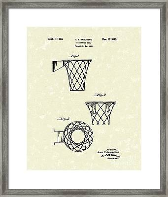 Basketball Hoop 1936 Patent Art Framed Print by Prior Art Design