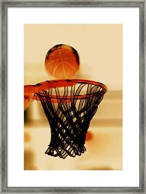 Basketball Hoop And Basketball Ball 1 Framed Print by Lanjee Chee