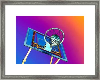 Basketball Hoop And Basketball Ball Framed Print by Lanjee Chee