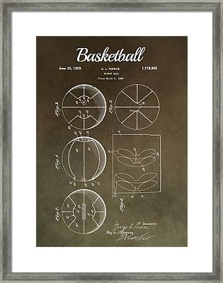 Basketball Patent Antique Brown Framed Print by Dan Sproul