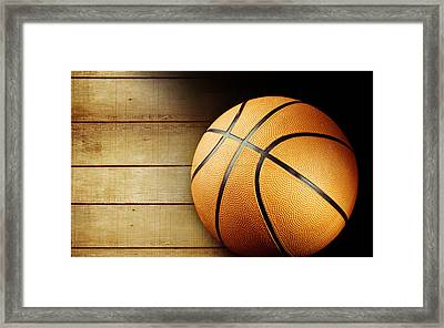Basketball Framed Print by Les Cunliffe