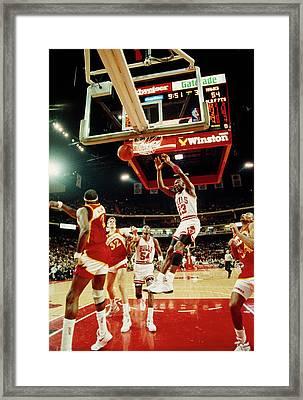 Basketball Match In Progress, Michael Framed Print