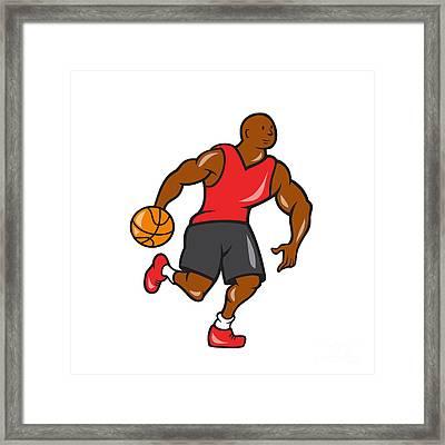 Basketball Player Dribbling Ball Cartoon Framed Print by Aloysius Patrimonio
