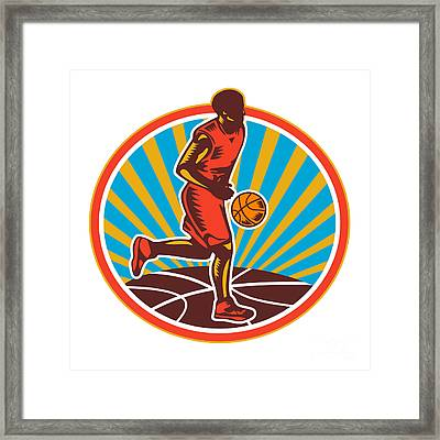 Basketball Player Dribbling Ball Woodcut Retro Framed Print by Aloysius Patrimonio