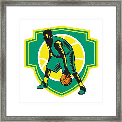 Basketball Player Dribbling Ball Woodcut Shield Retro Framed Print by Aloysius Patrimonio