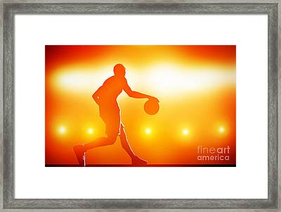Basketball Player Dribbling With Ball Framed Print
