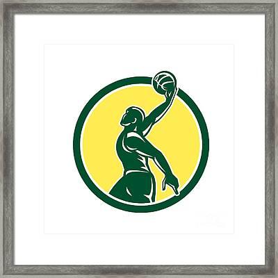 Basketball Player Dunk Ball Circle Retro Framed Print by Aloysius Patrimonio