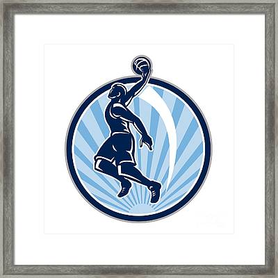 Basketball Player Dunk Ball Retro Framed Print by Aloysius Patrimonio