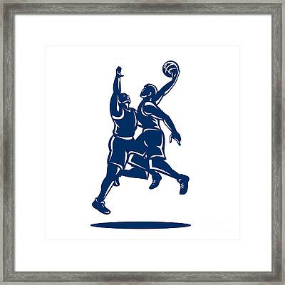Basketball Player Dunk Block Retro Framed Print by Aloysius Patrimonio