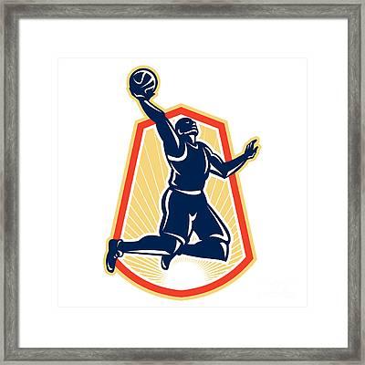 Basketball Player Dunk Rebound Ball Retro Framed Print by Aloysius Patrimonio