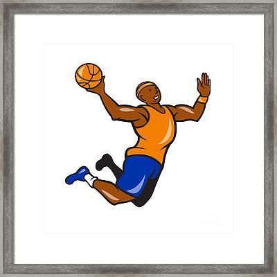 Basketball Player Dunking Ball Cartoon Framed Print by Aloysius Patrimonio
