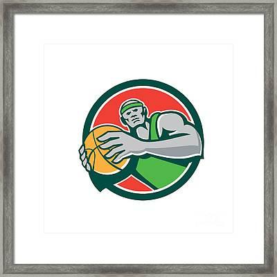 Basketball Player Holding Ball Circle Retro Framed Print by Aloysius Patrimonio