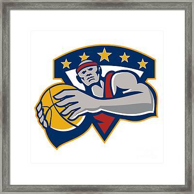 Basketball Player Holding Ball Star Retro Framed Print by Aloysius Patrimonio