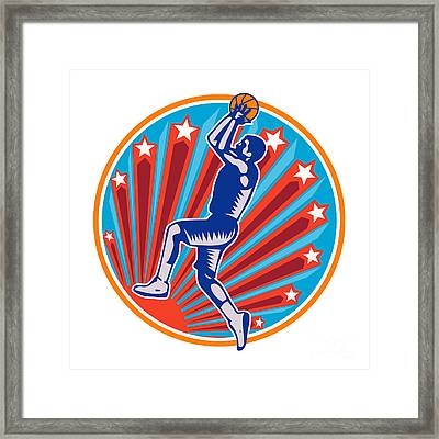 Basketball Player Jump Shot Ball Circle Woodcut Retro Framed Print by Aloysius Patrimonio