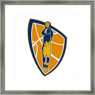 Basketball Player Jump Shot Ball Shield Retro Framed Print by Aloysius Patrimonio