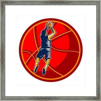 Basketball Player Jump Shot Ball Woodcut Retro Framed Print by Aloysius Patrimonio